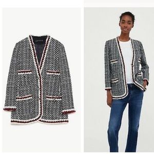 Zara Black White Tweed Red Trim Collarless Blazer